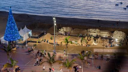 Sandkrippe am Strand Las Canteras