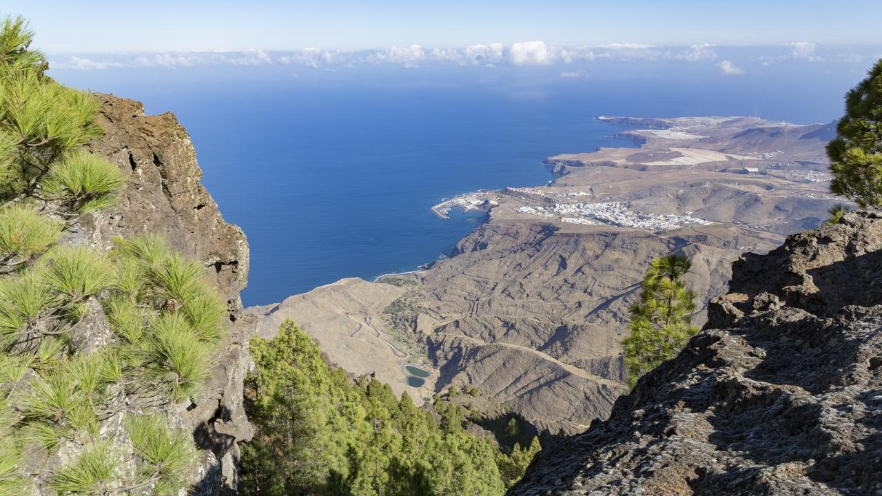 Vista de Agaete desde Tamadaba, en Gran Canaria