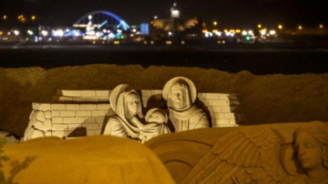 Sand Nativity scene in Las Canteras beach