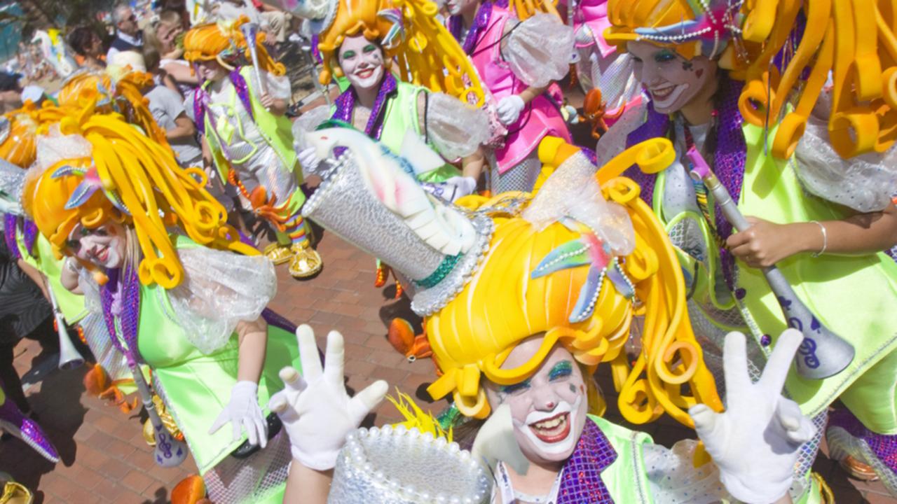 """Murga"" carnival singing group. Las Canteras Avenue"