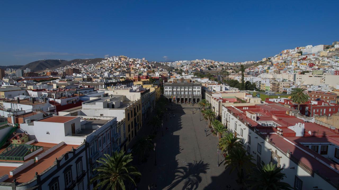 Plaza de Santa Ana, vista desde lo alto de la Catedral, Vegueta