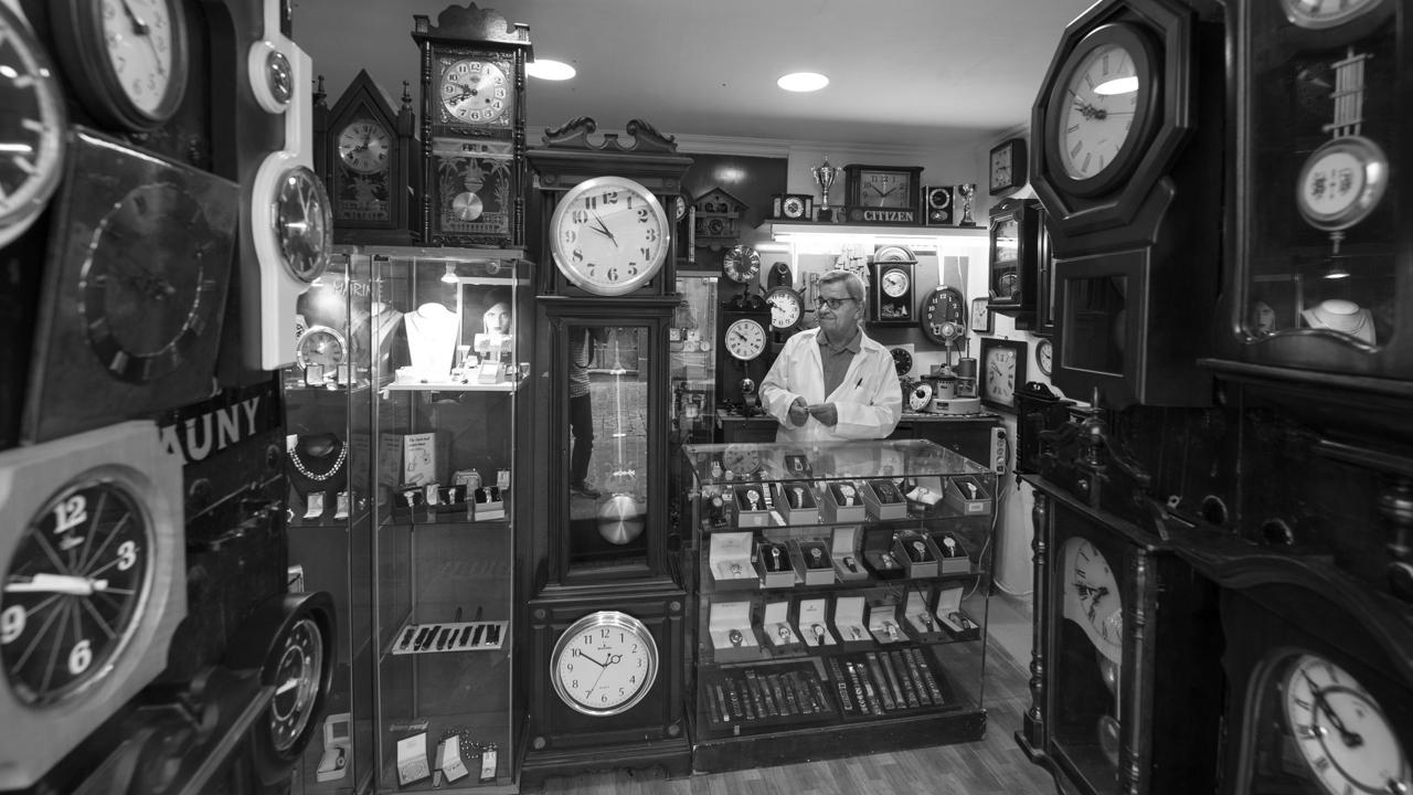 Pedro Macías at his workshop of watchmaker Pedro Macías in the district of Vegueta in Las Palmas de Gran Canaria