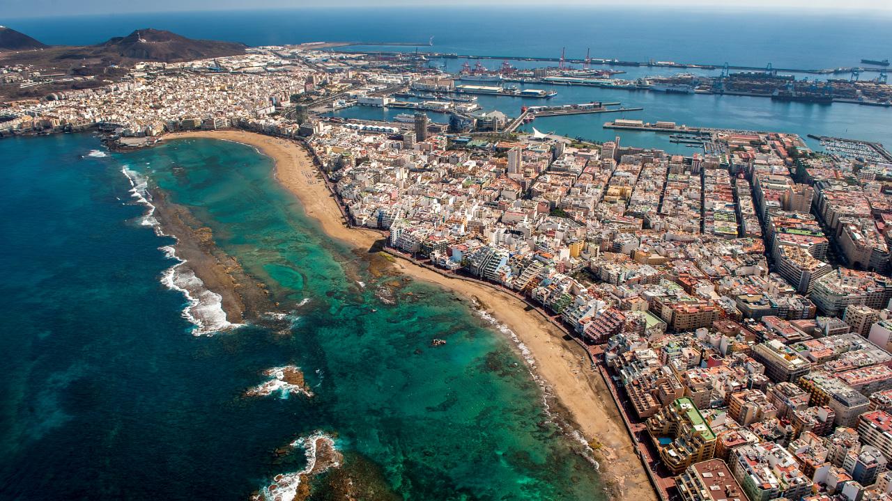 Vista aérea de la zona Puerto - Canteras, en Las Palmas de Gran Canaria