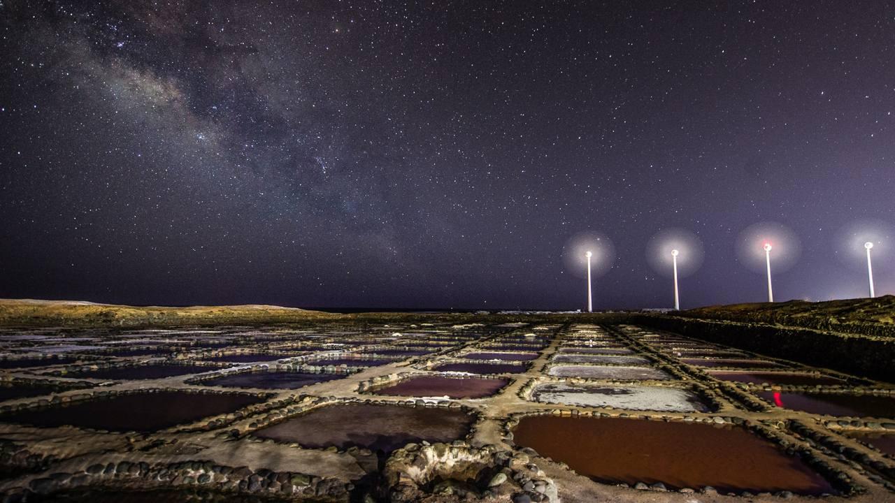 Cielo estrellado observado desde las Salinas de Tenefé