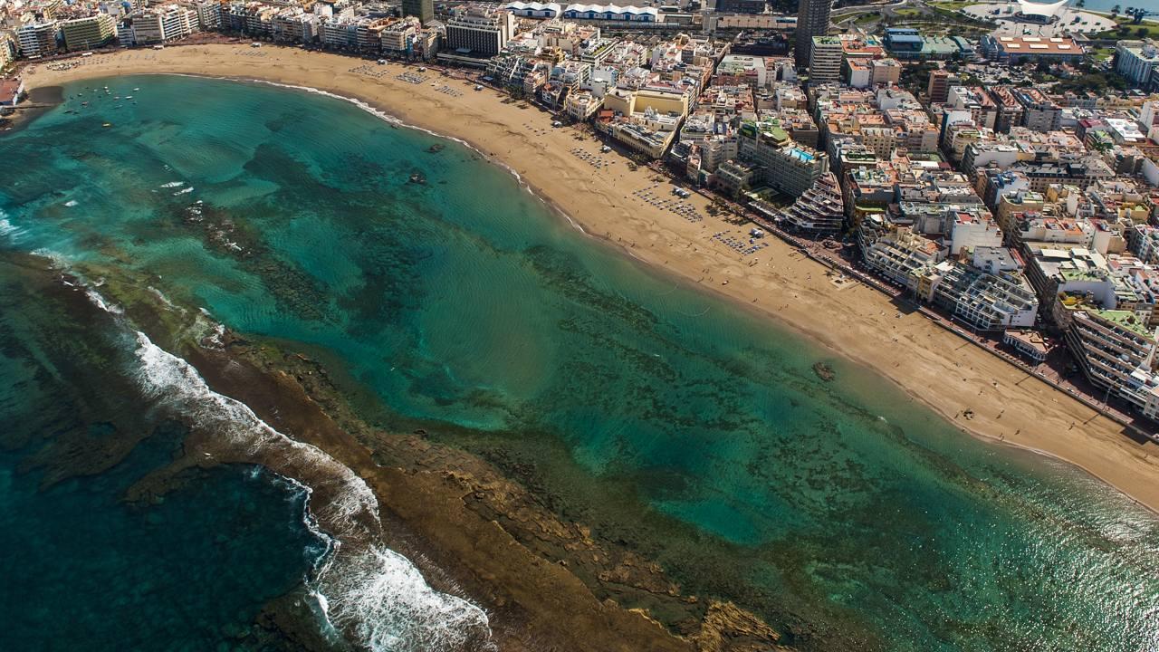 Aerial views over Las Canteras beach, in the city of Las Palmas de Gran Canaria