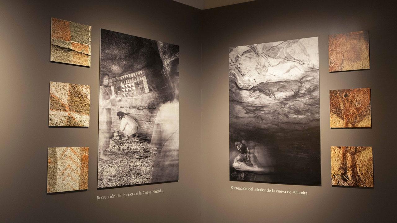 Exposición donde se puede ver una Recreación del interior la Cueva Pintada y la Cueva de Altamira