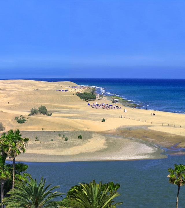 Charca y Playa de Maspalomas, en Gran Canaria