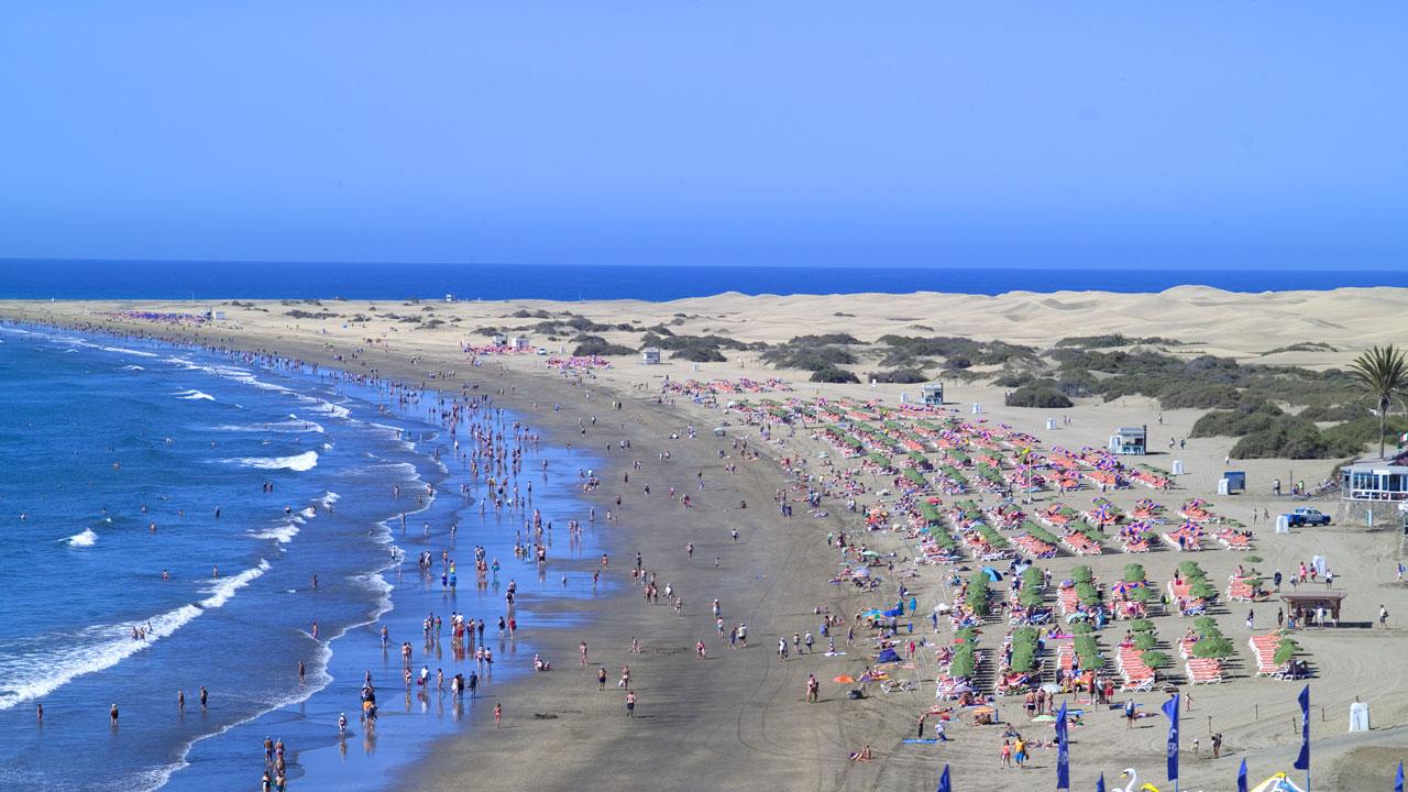 Playa del Inglés y Dunas de Maspalomas, en Gran Canaria