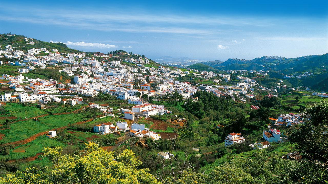 Vista del municipio de Teror en Gran Canaria