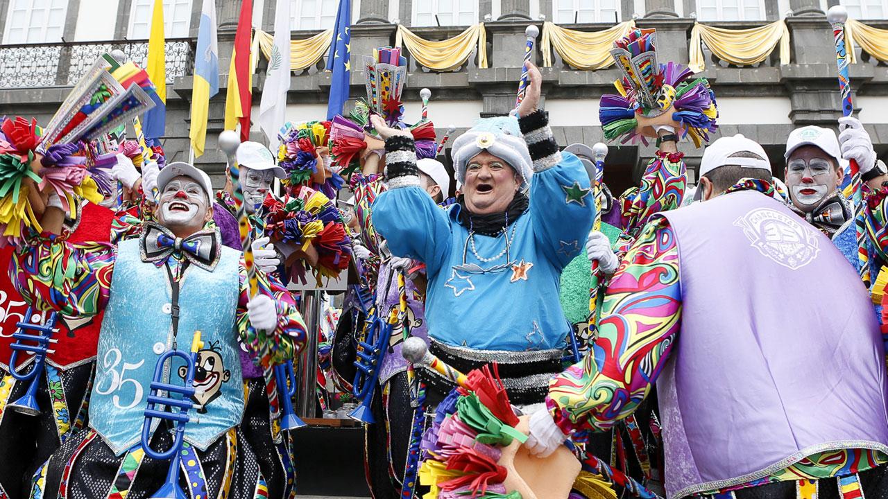 Tito Rosales de la Murga Los Chancletas, en el pregón del Carnaval de Las Palmas de Gran Canaria 2015
