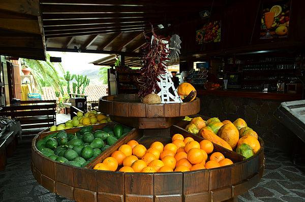 Detalle de frutas en un restaurante de Gran Canaria