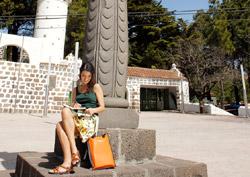 En vandrare vilar vid  Cruz de Tejeda