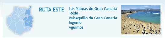 Percurso Este: Las Palmas de Gran Canaria, Telde, Valsequillo de Gran Canaria, Ingenio y Agüimes. Foto: Praia de Las Canteras (Las Palmas de Gran Canaria)