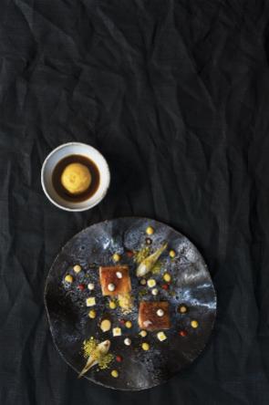 Schwarzes Kanaren-Spanferkel mit Orangen, Soja und Zwiebeln aus Gáldar