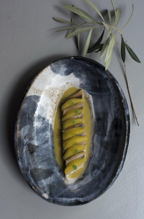 Sardinas marinadas en jugo de aceitunas de Santa Lucía y naranjas de Telde