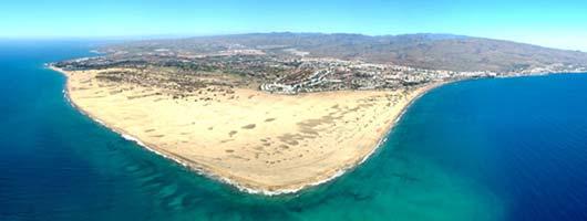 Vista panoramica della spiaggia e delle dune di Maspalomas