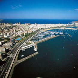 Panoramic view of the city and port of Las Palmas de Gran Canaria