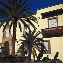 Plaza Santa Ana on a sunny day