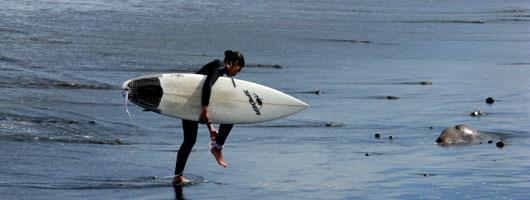 Uma rapariga com a prancha debaixo do braço a andar à beira-mar