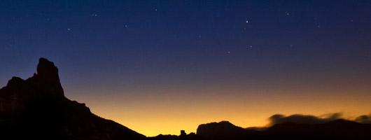 Vista del tramonto nella zona montagnosa di  Gran Canaria